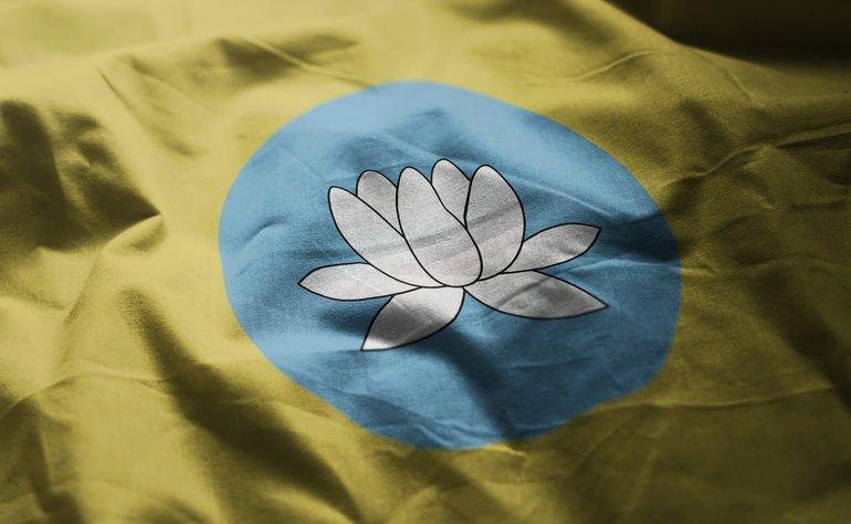 Kalmykia_Flag_Rumpled_Close_Up_