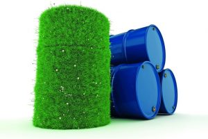 3D_rendering_barrels_covered_with_green_grass_with_biofuels