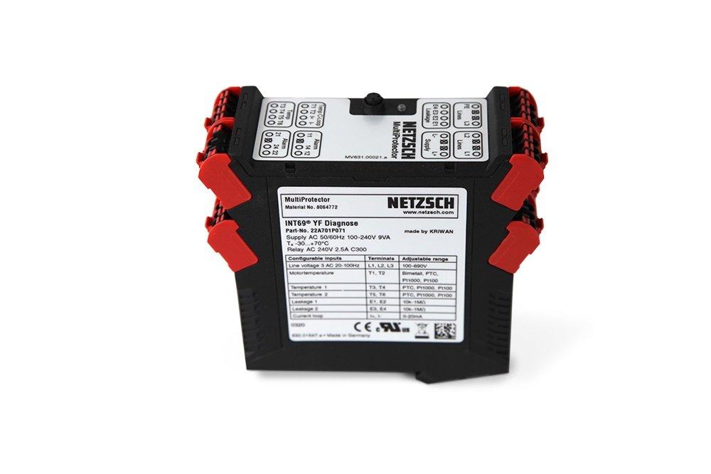 DerDer MultiProtector ist ein Schaltschrankgerät, das über eine Vielzahl von Eingängen verfügt. Dadurch, dass eine Verbindung zum Motor besteht, können Motorfrequenz und -spannung überwacht werden. Bild: NETZSCH Pumpen & Systeme MultiProtector ist ein Schaltschrankgerät, das über eine Vielzahl von Eingängen verfügt