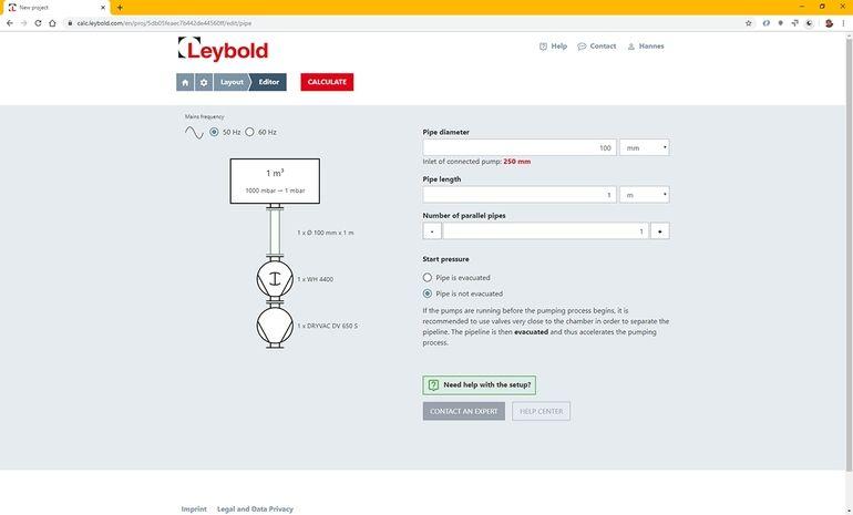 Leybold_Vakuumberechnungs-Tool