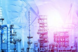 Petrochemical_oil_refinery_with_Flask_in_scientist_hand_with_dropping_liquid_to_test_tube_