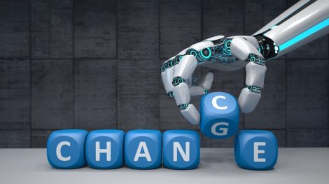 The_robot_hand_with_blue_cubes_and_text_Change_Chance._3d_illustration.