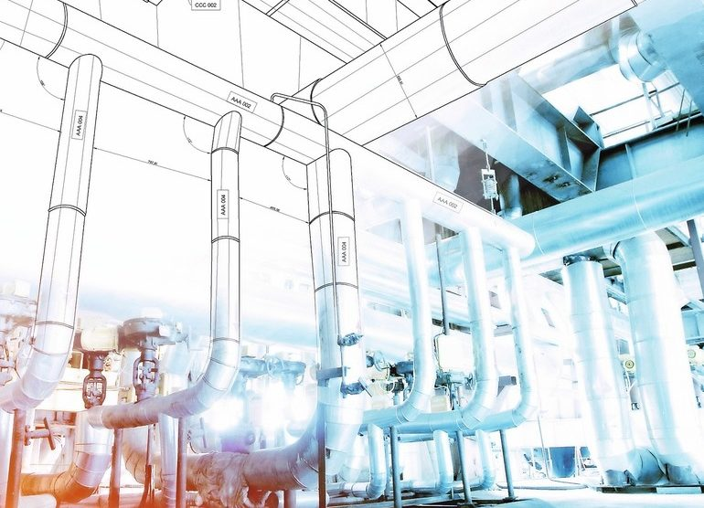 wireframe_computer_cad_design_of_pipelines_for_modern_industrial_power_plant