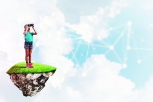 Cute_girl_on_floating_island_looking_in_spyglass_presenting_social_connection_concept